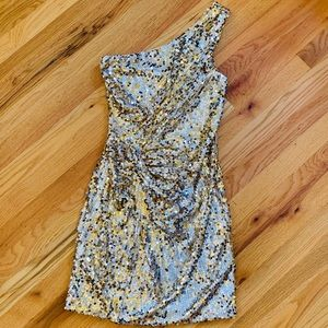 DEB Silver/Gold Sequin Cocktail Dress Sz M EUC!